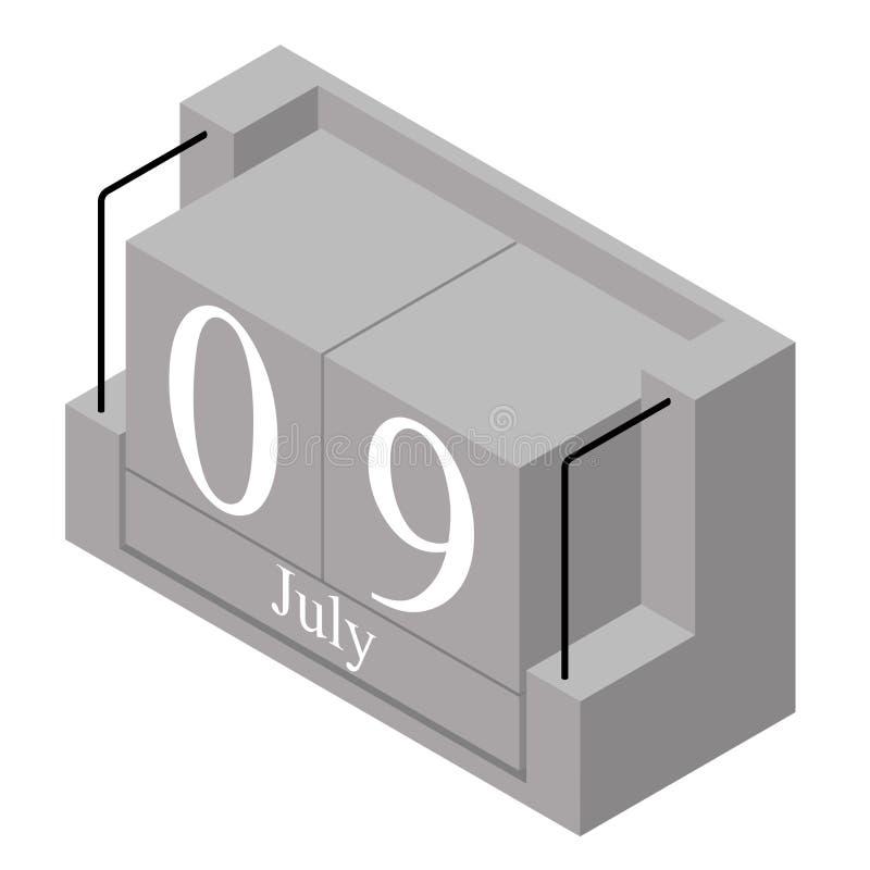 9. Juli Datum an einem Kalender des einzigen Tages Anwesendes Datum 9 des grauen h?lzernen Kalenderblocks und Monat Mai lokalisie lizenzfreie abbildung