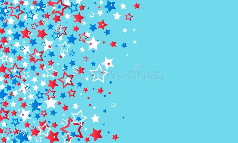 4 juli, de Onafhankelijkheidsdag van de V.S. De rode, blauwe en witte confettien van sterrendecoratie op een blauwe achtergrond T royalty-vrije illustratie