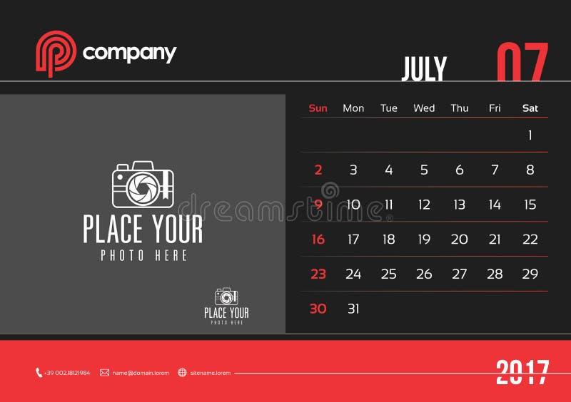 Juli-de Zondag van het het Ontwerp 2017 Begin van de Bureaukalender stock afbeelding