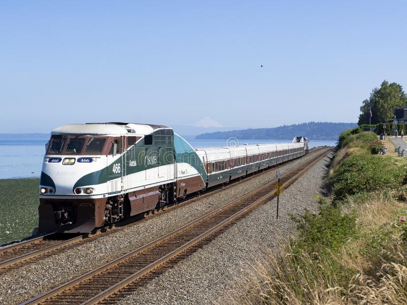 14. Juli 2018; Edmonds, WA, USA; Amtrak F59PHI 466 stockbild