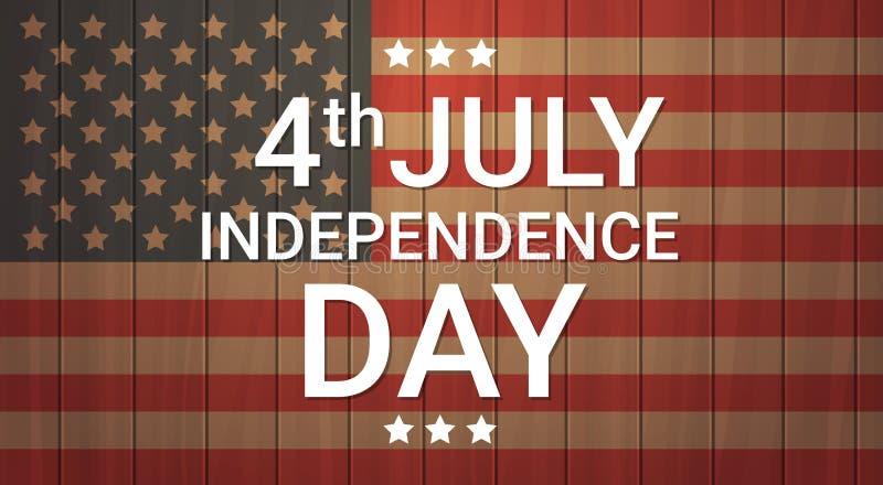 Juli för ferie för självständighetsdagen för Förenta staternaflaggaträtextur 4 baner vektor illustrationer