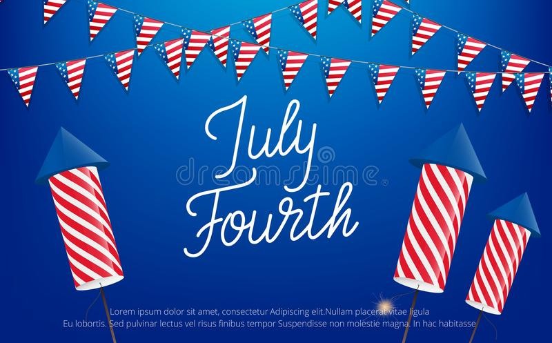 Juli fjärde, USA självständighetsdagenberöm Baner med bokstäver, buntings och fyrverkerier stock illustrationer
