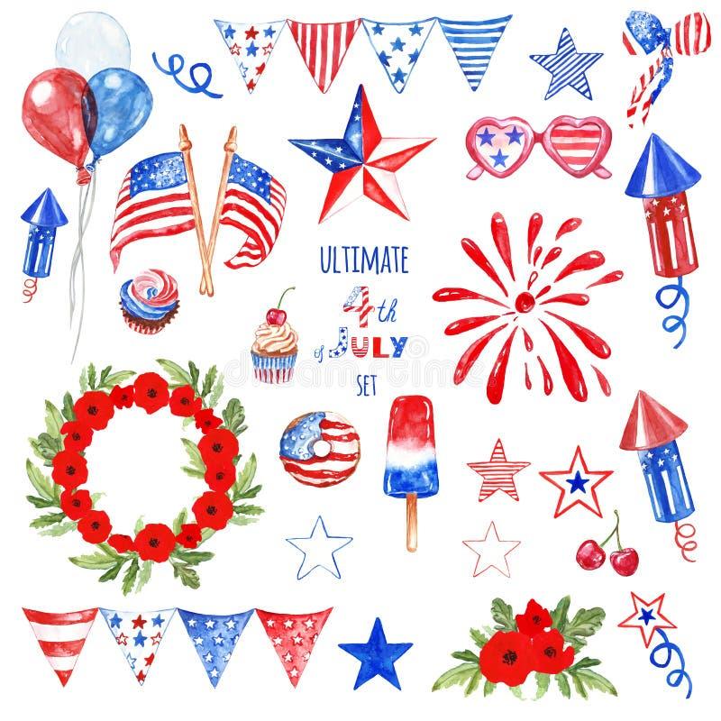 Juli fjärdedelsymboler och beståndsdelar ställde in i blåa, röda och vita färger av USA flaggan som isolerades Patriotisk dekor f arkivfoto
