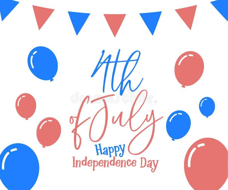 4 Juli, gelukkige onafhankelijkheidsdag in de Verenigde Staten van Amerika, de V.S. royalty-vrije illustratie