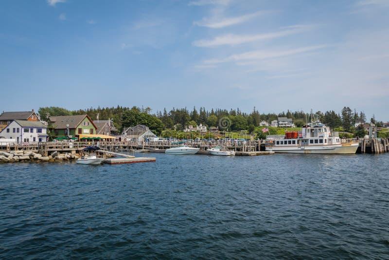 4. Juli 2019: Hafen Clyde, ein kleines Fischerdorf in Küsten-Maine, an einem Sommertag lizenzfreies stockfoto