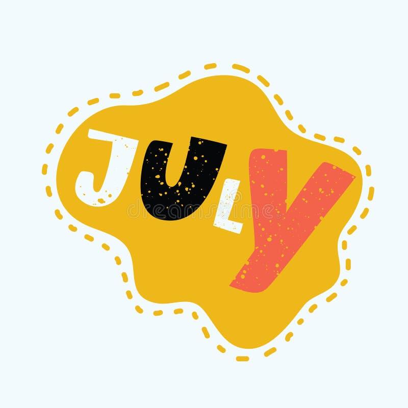 Juli - Hand gezeichnete Beschriftung stock abbildung
