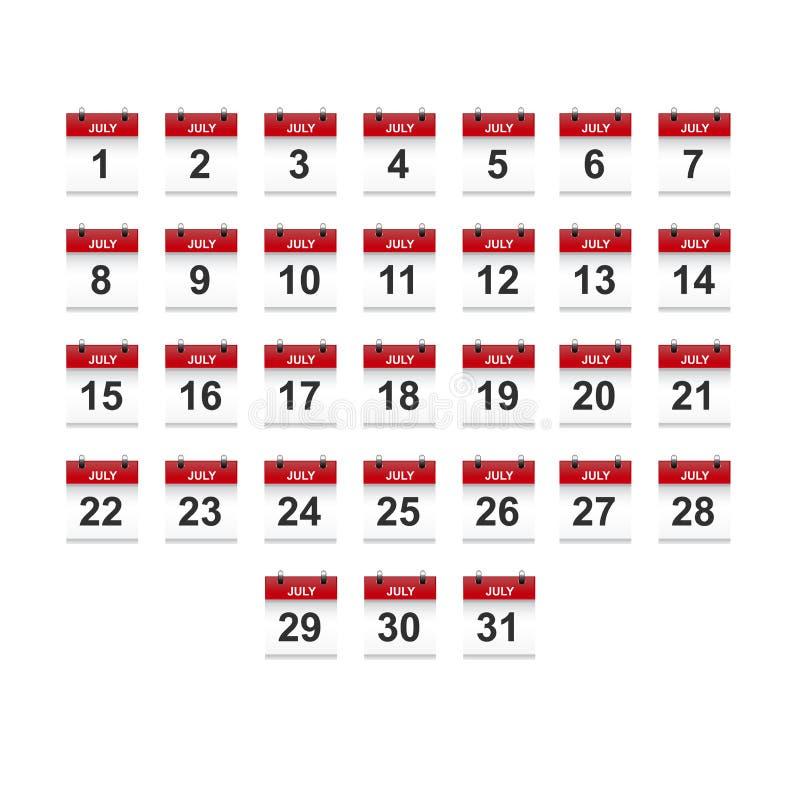 Juli-het vectorart. van de kalender 1-31 illustratie stock illustratie