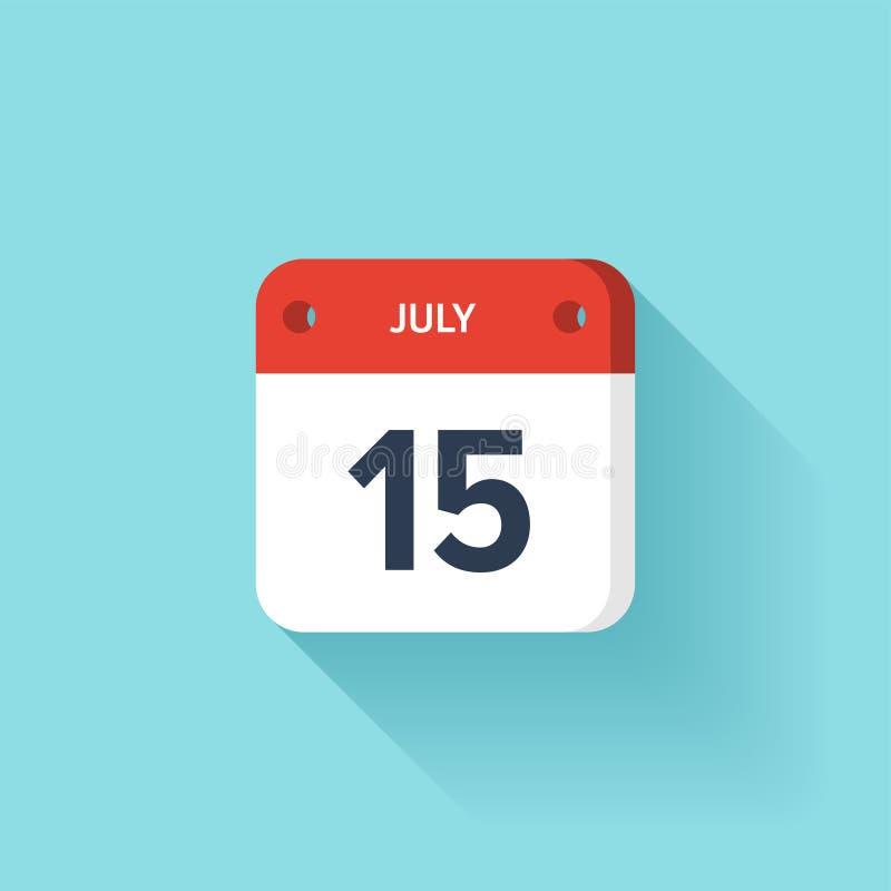 Juli 15 Isometrisk kalendersymbol med skugga Vektorillustration, lägenhetstil Månad och datum söndag måndag, tisdag stock illustrationer