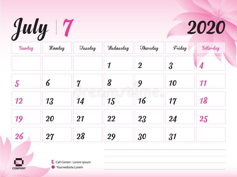 Juli 2020 Jahr-Schablone, Kalender-2020 Vektor, Tischkalender-Entwurf, rosa Blumenkonzept für Kosmetik, Schönheit, Badekurort, Ge stock abbildung