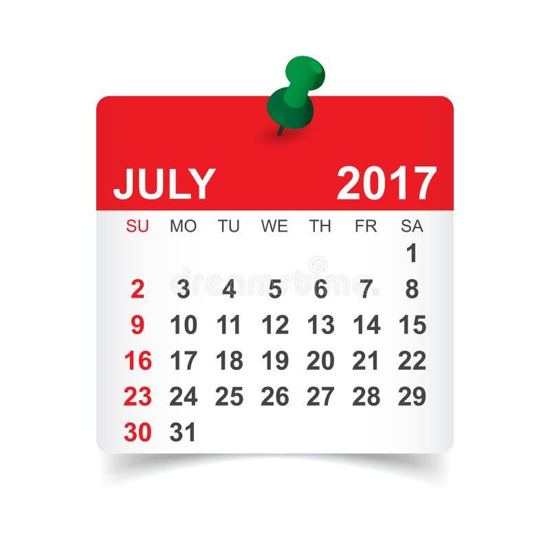 Juli 2017 kalender vektor illustrationer