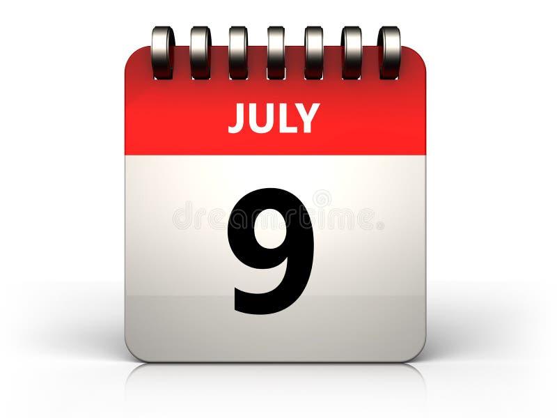 am 9. Juli Kalender 3d lizenzfreie abbildung