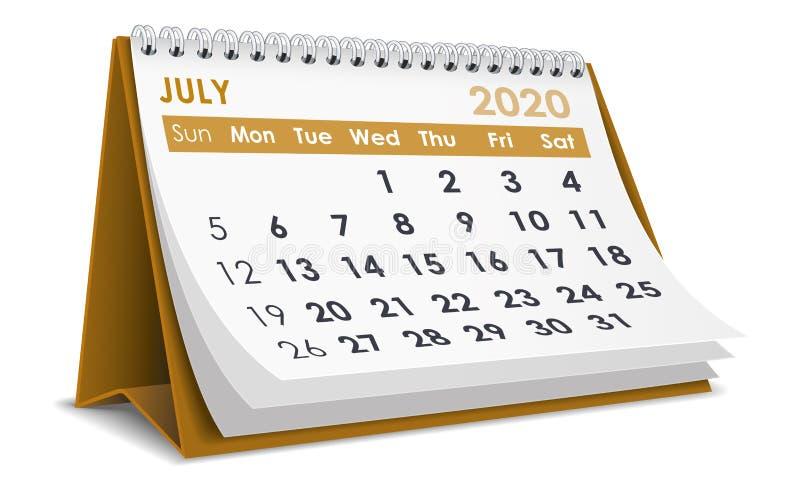 Juli 2020 Kalender royaltyfri illustrationer