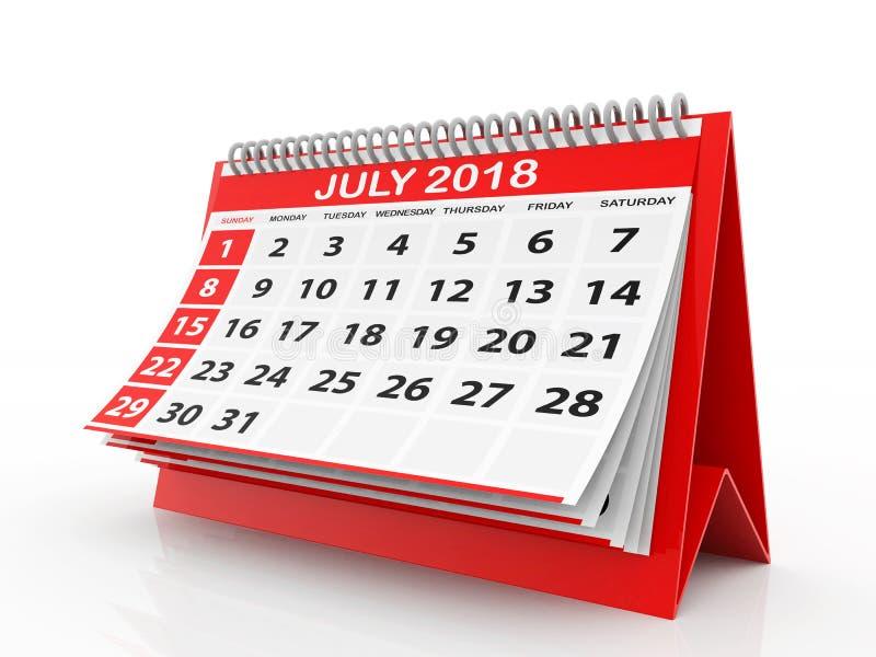 Juli 2018 Kalender im weißen Hintergrund Abbildung 3D lizenzfreie abbildung