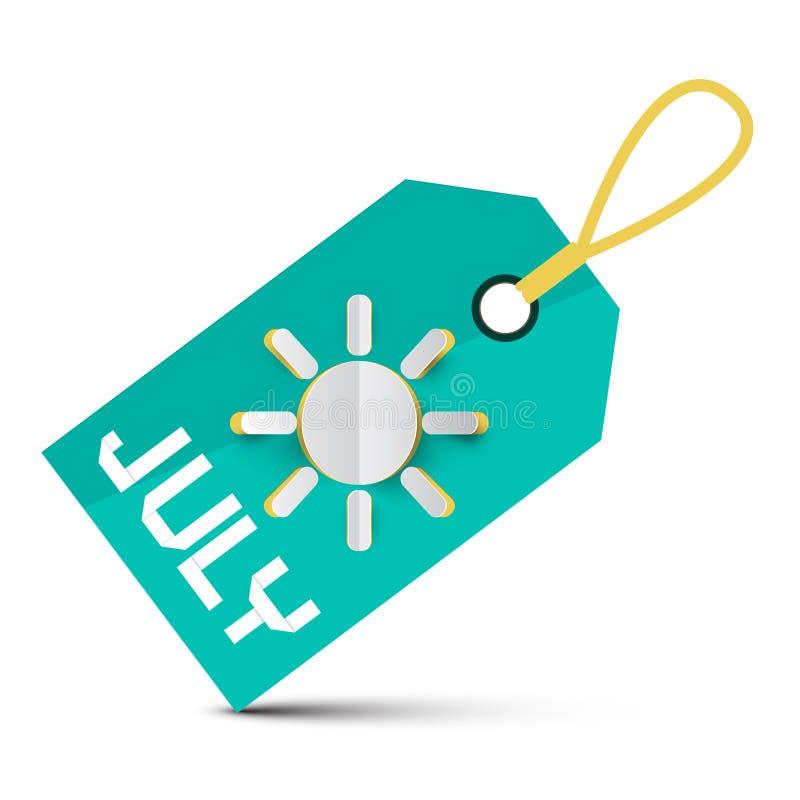 Juli-Koord Blauwe Markering - Etiket met Document Besnoeiingszon royalty-vrije illustratie