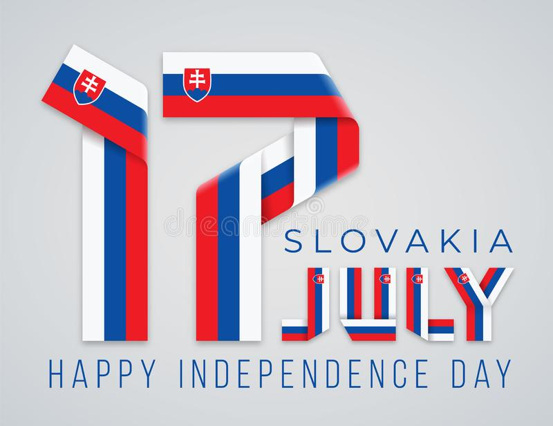 Juli 17, lyckönsknings- design för Slovakien självständighetsdagen med slovakiska flaggabeståndsdelar ocks? vektor f?r coreldrawi stock illustrationer