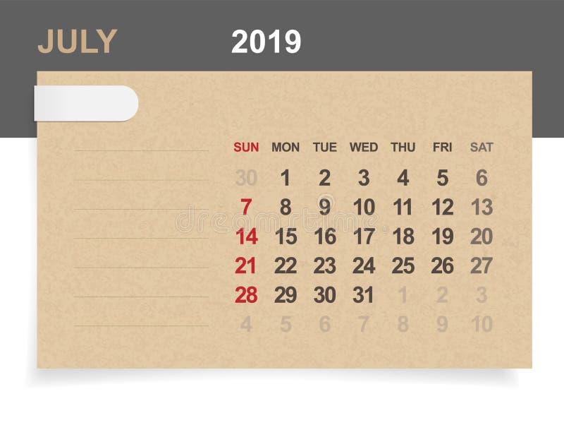 Juli 2019 - månatlig kalender på bakgrund för brunt papper och trä stock illustrationer