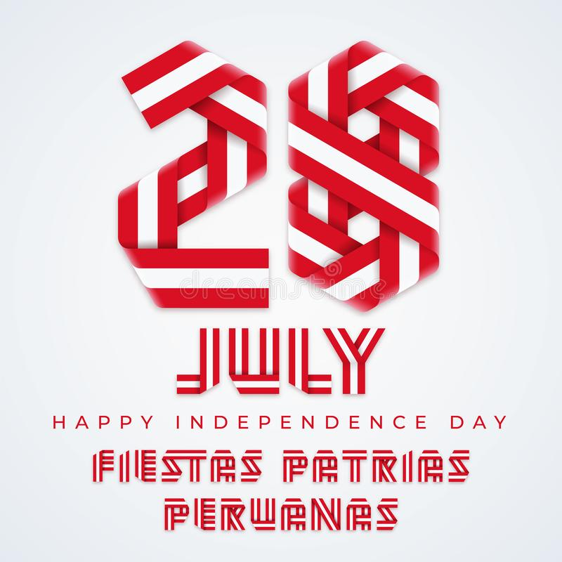 Juli 28, Peru Independence Day lyckönsknings- design med peruanska flaggafärger ocks? vektor f?r coreldrawillustration vektor illustrationer