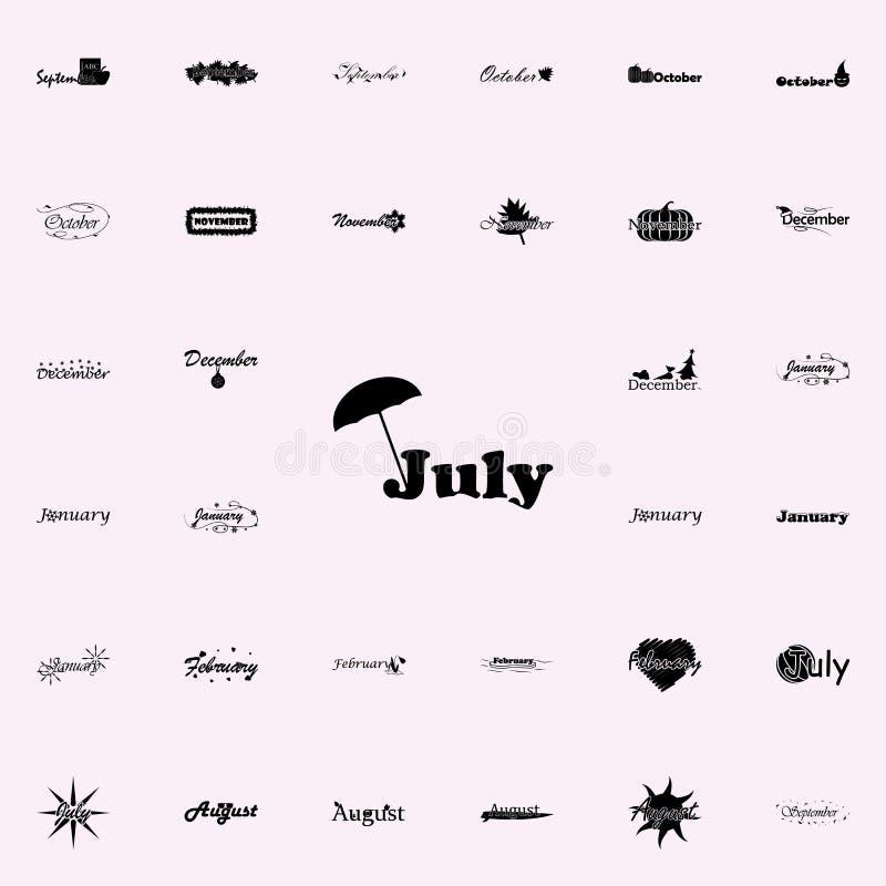 Juli-pictogram Naam van voor Web wordt geplaatst dat en het mobiele algemene begrip van maandpictogrammen royalty-vrije illustratie