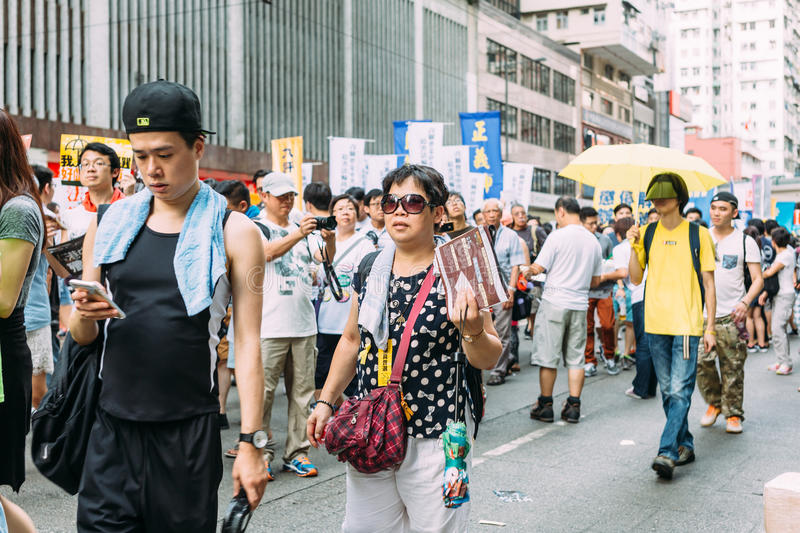 1 Juli-protest in Hong Kong royalty-vrije stock foto