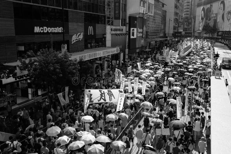 1 Juli protest i Hong Kong royaltyfri foto
