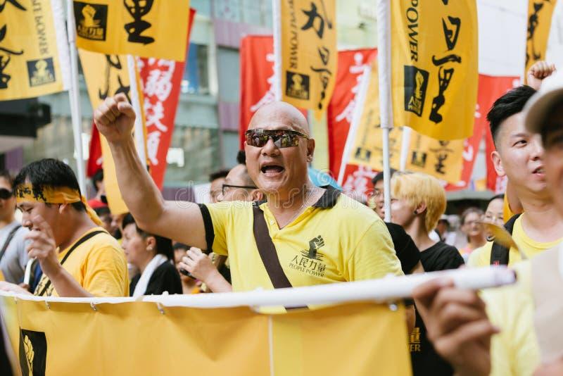 1 Juli protest i Hong Kong royaltyfria bilder