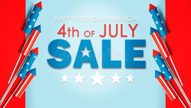 4 juli, raketten voor vuurwerk op een blauwe rode achtergrond met spac royalty-vrije stock afbeelding