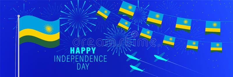 1. Juli Ruanda-Unabhängigkeitstaggrußkarte Feierhintergrund mit Feuerwerken, Flaggen, Fahnenmast und Text stock abbildung