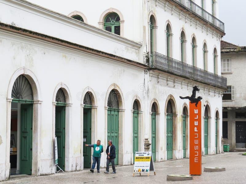 22 juli, 2018, Santos, São Paulo, Brazilië, historisch centrum, Museum Pelé in oude Casarão Valongo stock afbeelding