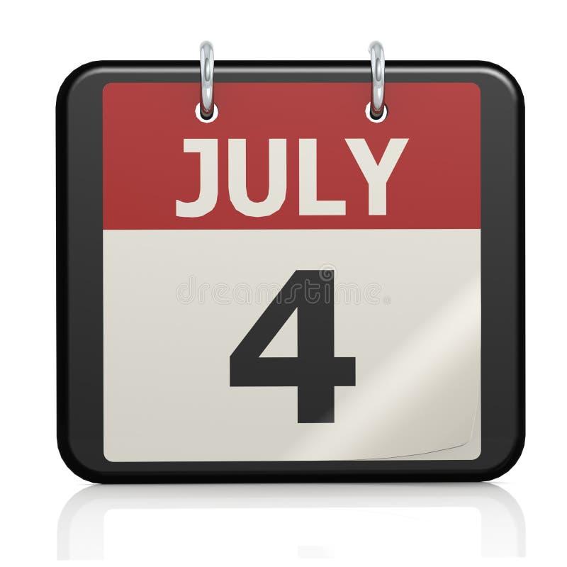 Juli 4, självständighetsdagencalander stock illustrationer