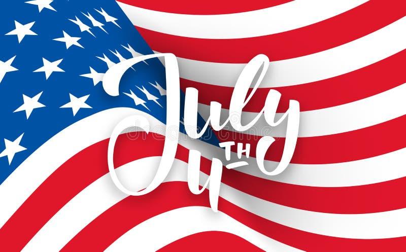 Juli 4th bakgrund USA sj?lvst?ndighetsdagenbaner med att m?rka och den krabba flaggan vektor illustrationer