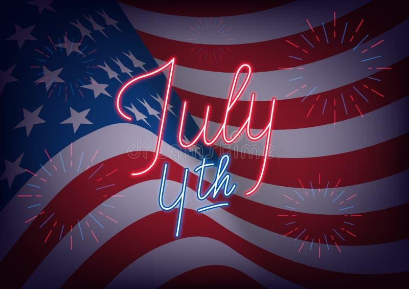 Juli 4th Baner för USA självständighetsdagenhälsning USA flaggabakgrund med neonbokstäver och fyrverkerier royaltyfri illustrationer