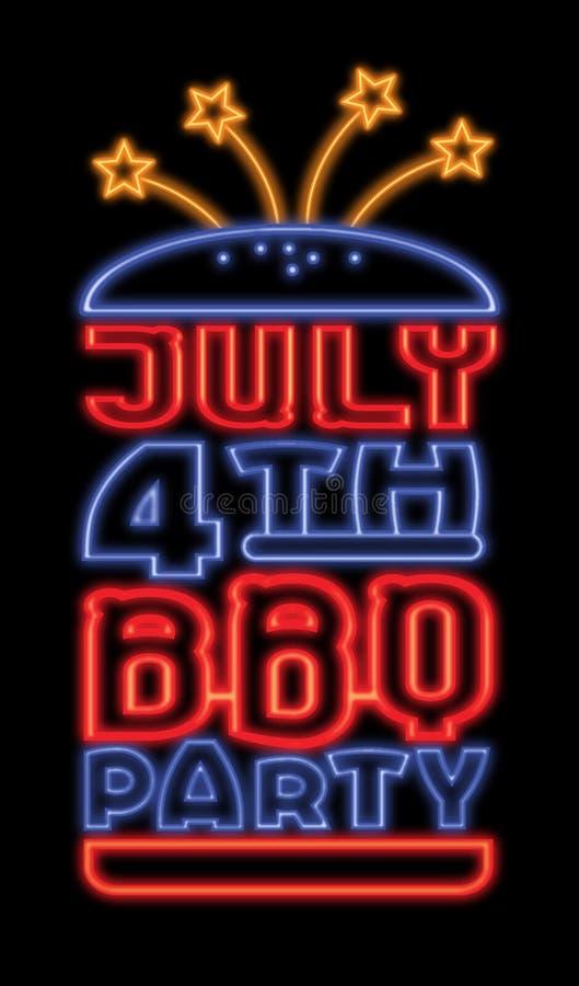 Juli 4th BBQ royaltyfri illustrationer