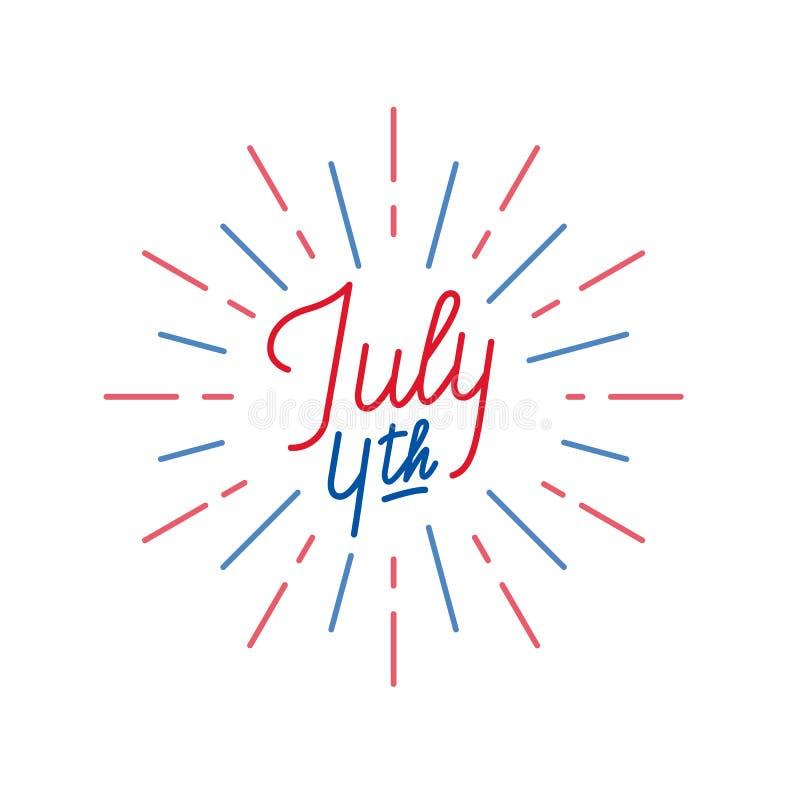 Juli 4th Bokstäverlogo för USA självständighetsdagenberöm royaltyfri illustrationer