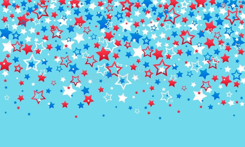 Juli 4th sj?lvst?ndighetsdagen av Amerika Röda blåa och vita stjärnagarneringar av konfettier och slingrande på en blå bakgrund royaltyfri fotografi