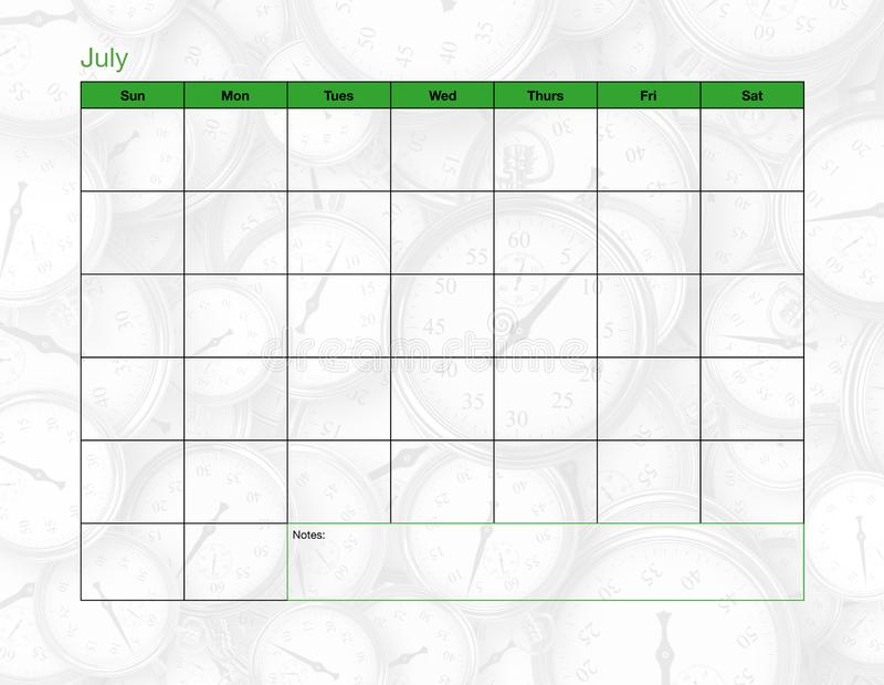 Juli tom kalender royaltyfria bilder