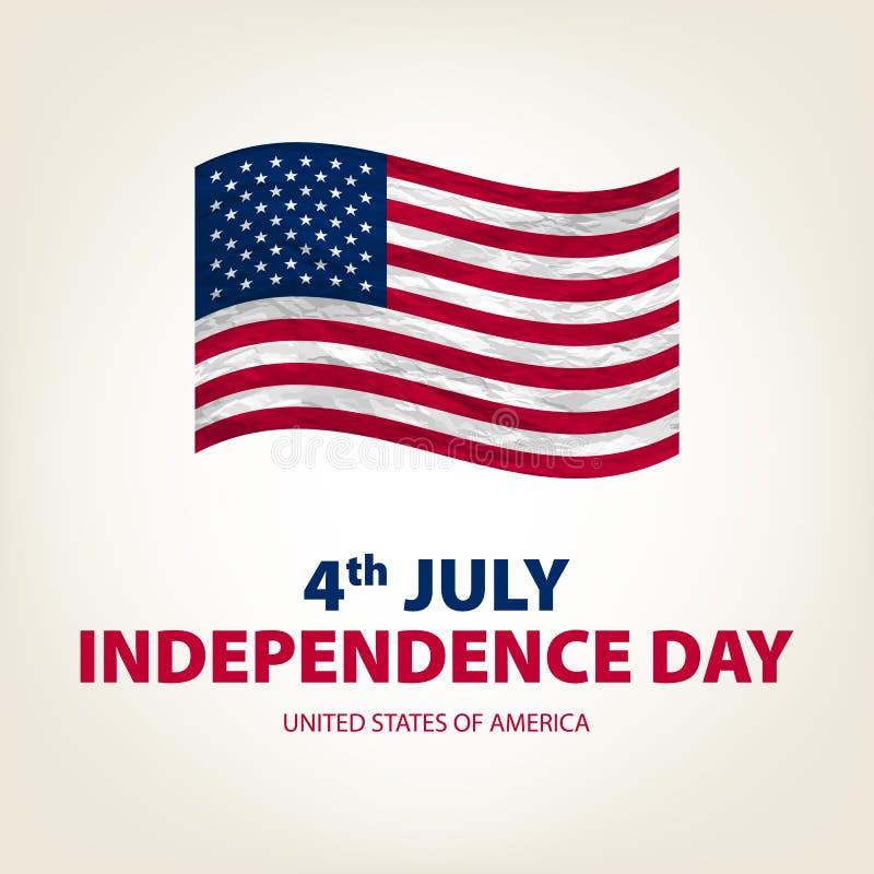 4. Juli Unabhängigkeitstag USA Vektor Staaten von Amerika Zeichnung bild graphik karte Amerikanische Flagge Patriotische Fahne vektor abbildung