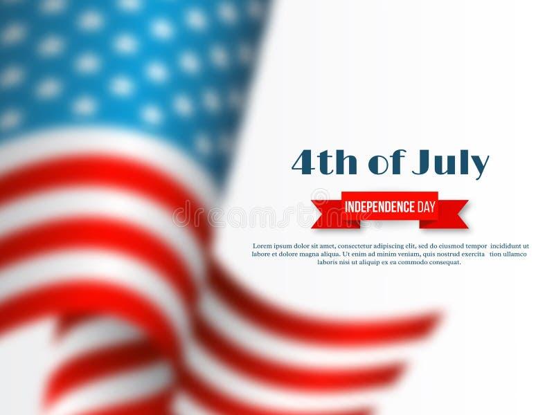 Juli 4. - Unabhängigkeitstag von Amerika Gelbe und rote Farben amerikanische wellenartig bewegende Flagge des Effektes der Unschä lizenzfreie abbildung