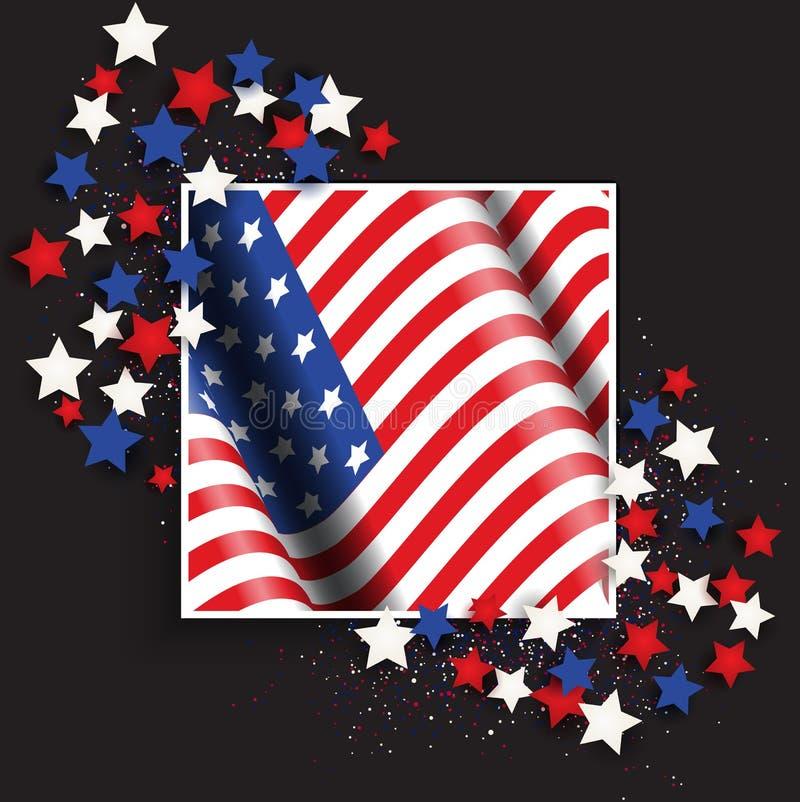 4. Juli Unabhängigkeitstaghintergrund mit amerikanischer Flagge und Sternen lizenzfreie abbildung