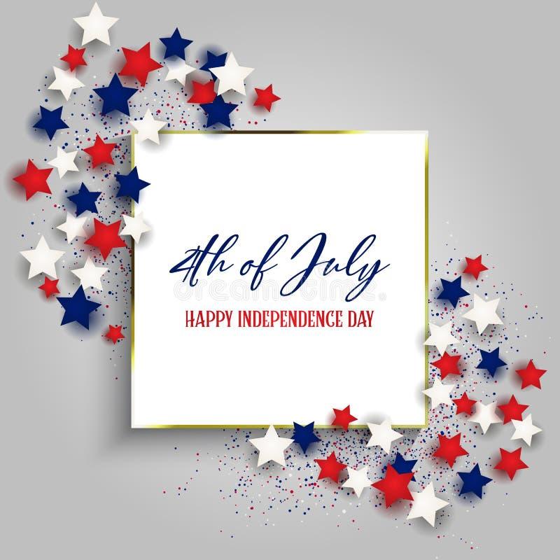 4. Juli Unabhängigkeitstaghintergrund mit Goldrahmen und -sternen lizenzfreie abbildung