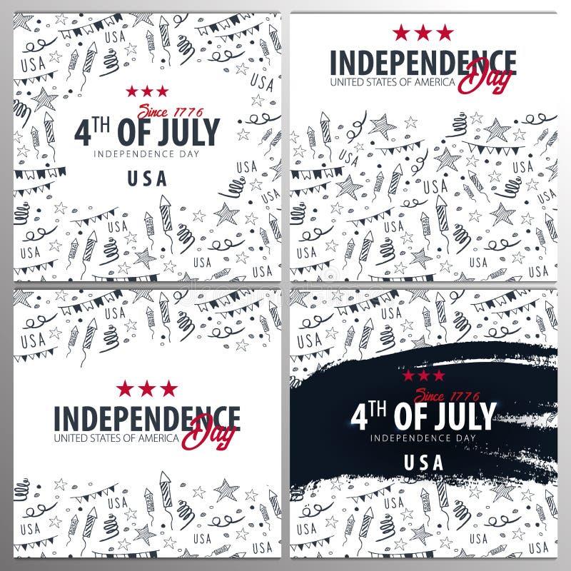 Juli 4 USA-Unabh?ngigkeitstagfeierfahnen mit Gekritzelhintergrund des Handabgehobenen betrages, amerikanische Flagge Vektor stock abbildung