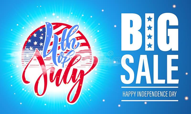 4. Juli USA-Unabhängigkeitstagfeuerwerksverkaufs-Plakatflieger lizenzfreie abbildung