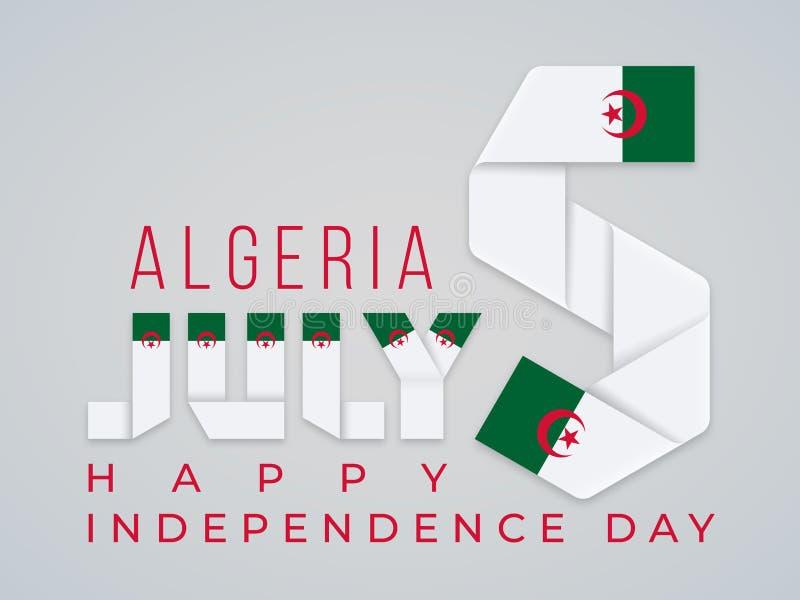 5 juli, van de de Onafhankelijkheidsdag van Algerije het felicitatieontwerp met Algerijnse vlagelementen Vector illustratie stock illustratie