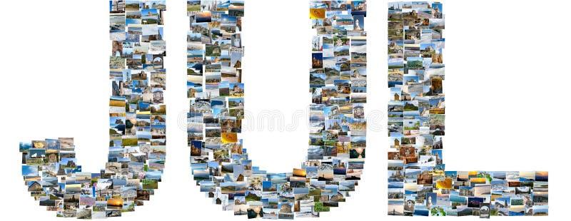 Juli van reisfoto's die wordt gemaakt stock afbeeldingen