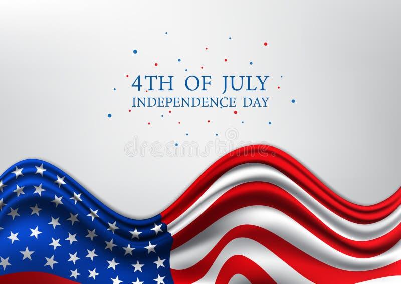 Juli 4., vereinigt angegebener Unabhängigkeitstag, amerikanischer Nationaltag auf USA-Flagge, Vektorillustration lizenzfreie abbildung