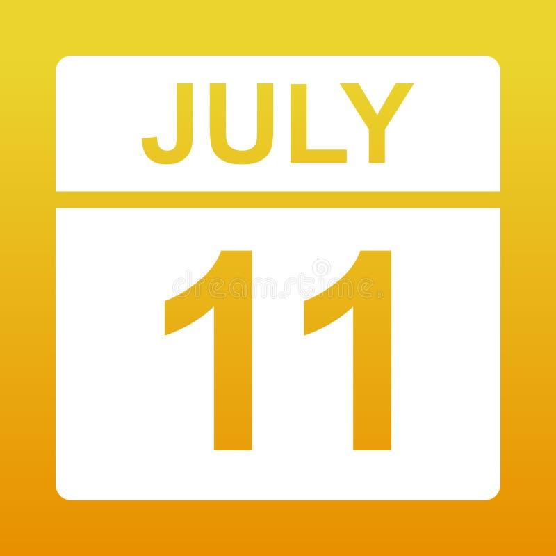 11 juli Witte kalender op een gekleurde achtergrond Dag op de kalender Illustratie stock afbeeldingen