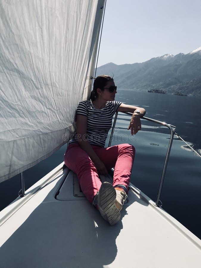 Julia Bauer - German Moderator - during sailing trip royalty free stock photos