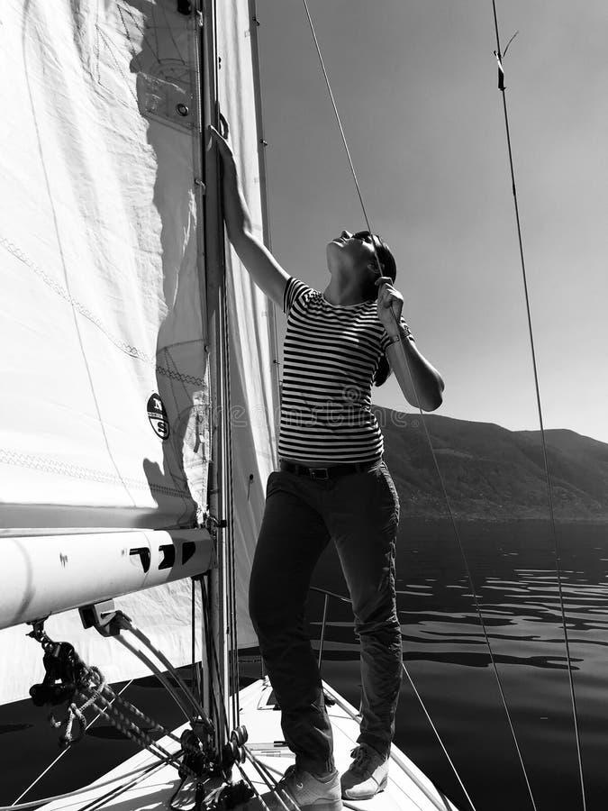 Julia Bauer - German Moderator - during sailing trip stock photos