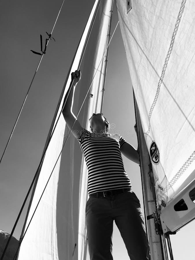 Julia Bauer - German Moderator - during sailing trip royalty free stock images