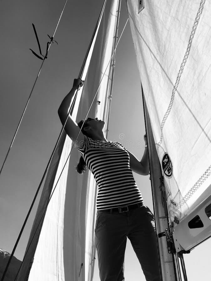 Julia Bauer - German Moderator - during sailing trip stock image