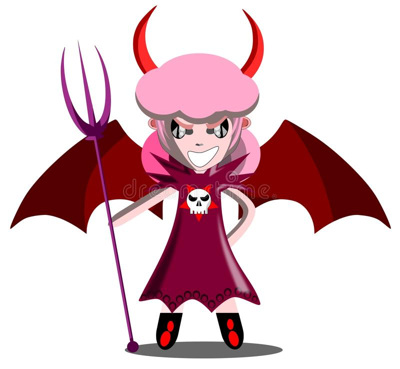 Julia the devil. It's halloween and this year Julia decided to wear herself as a little devil royalty free illustration